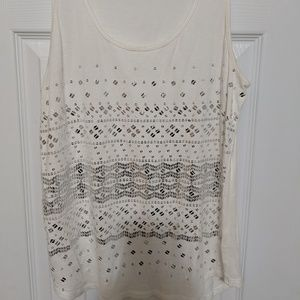 Express White tank top with silver sequins